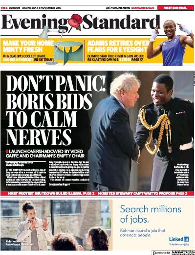 London Evening Standard Newspaper Front Page (UK) for 7 November 2019