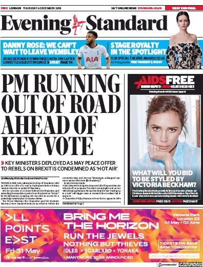 London Evening Standard Newspaper Front Page (UK) for 7 December 2018