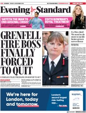 London Evening Standard (UK) Newspaper Front Page for 7 December 2019