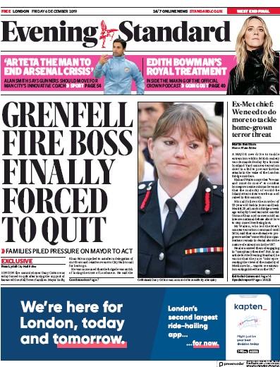 London Evening Standard Newspaper Front Page (UK) for 7 December 2019