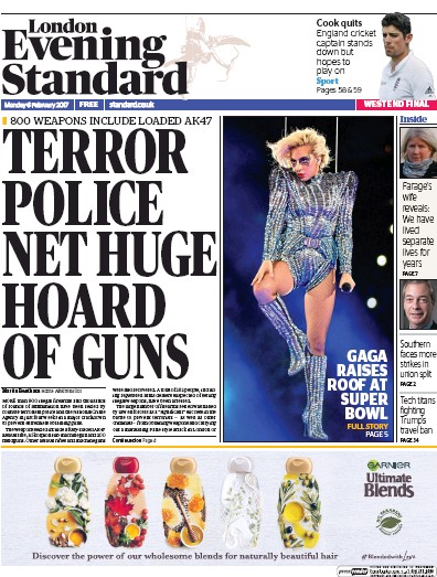 London Evening Standard Newspaper Front Page (UK) for 7 February 2017