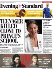London Evening Standard (UK) Newspaper Front Page for 7 February 2019