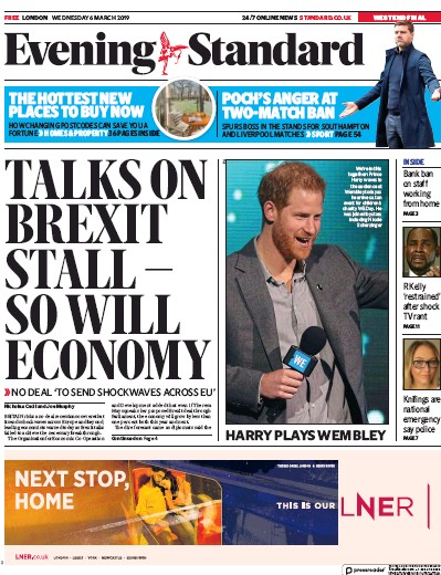 London Evening Standard Newspaper Front Page (UK) for 7 March 2019