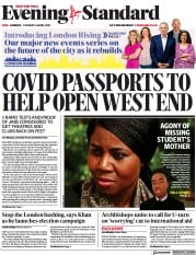 London Evening Standard front page for 7 April 2021