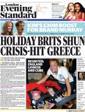 London Evening Standard (UK) Newspaper Front Page for 7 July 2015