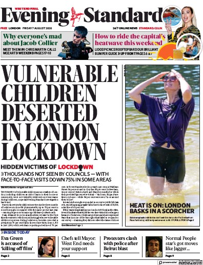 London Evening Standard Newspaper Front Page (UK) for 7 August 2020