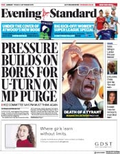 London Evening Standard (UK) Newspaper Front Page for 7 September 2019