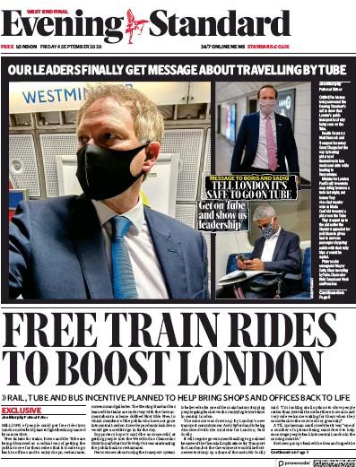 London Evening Standard Newspaper Front Page (UK) for 7 September 2020
