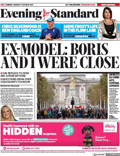London Evening Standard Newspaper Front Page (UK) for 8 October 2019