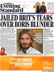 London Evening Standard (UK) Newspaper Front Page for 8 November 2017