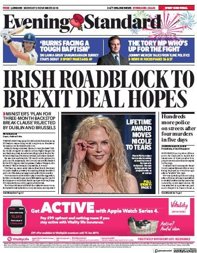 London Evening Standard Newspaper Front Page (UK) for 8 November 2018