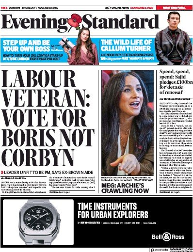 London Evening Standard Newspaper Front Page (UK) for 8 November 2019