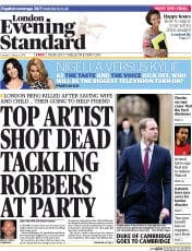 London Evening Standard (UK) Front Page for 25 January