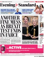 London Evening Standard (UK) Newspaper Front Page for 8 January 2019