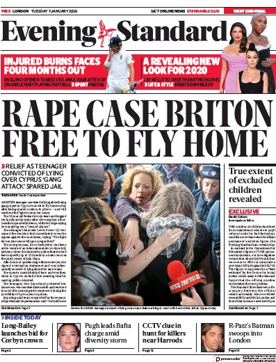 London Evening Standard Newspaper Front Page (UK) for 8 January 2020