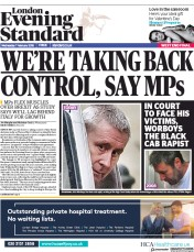 London Evening Standard (UK) Newspaper Front Page for 8 February 2018