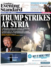 London Evening Standard (UK) Newspaper Front Page for 8 April 2017