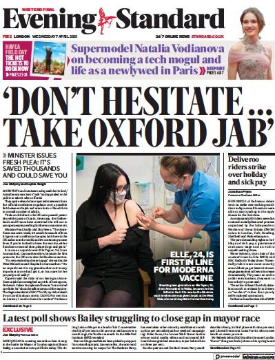 London Evening Standard Newspaper Front Page (UK) for 8 April 2021