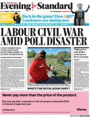 London Evening Standard front page for 8 May 2021
