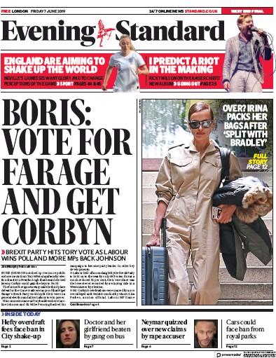 London Evening Standard Newspaper Front Page (UK) for 8 June 2019