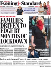 London Evening Standard front page for 8 July 2020