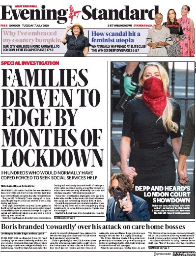 London Evening Standard Newspaper Front Page (UK) for 8 July 2020