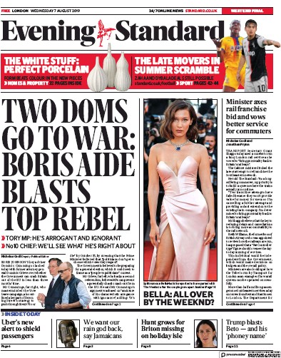 London Evening Standard Newspaper Front Page (UK) for 8 August 2019