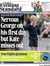 London Evening Standard (UK) Newspaper Front Page for 8 September 2017