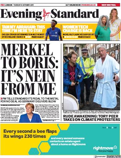 London Evening Standard Newspaper Front Page (UK) for 9 October 2019