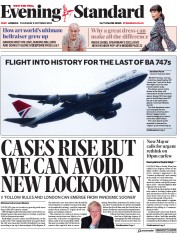 London Evening Standard front page for 9 October 2020