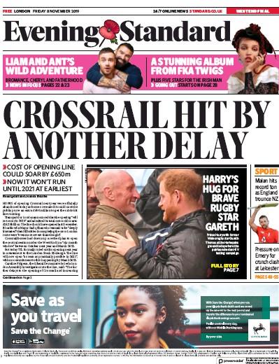 London Evening Standard Newspaper Front Page (UK) for 9 November 2019