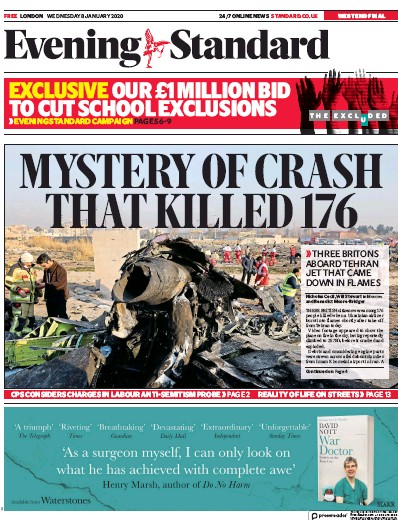 London Evening Standard Newspaper Front Page (UK) for 9 January 2020