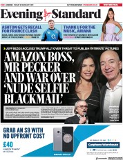 London Evening Standard () Newspaper Front Page for 9 February 2019
