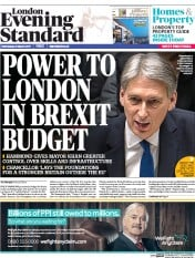 London Evening Standard (UK) Newspaper Front Page for 9 March 2017