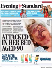 London Evening Standard (UK) Newspaper Front Page for 9 June 2018