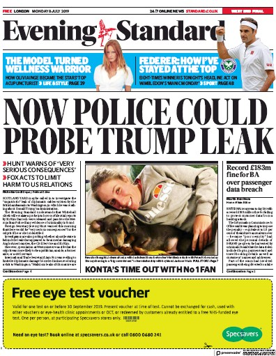 London Evening Standard Newspaper Front Page (UK) for 9 July 2019