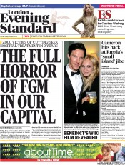 London Evening Standard (UK) Front Page for 23 January
