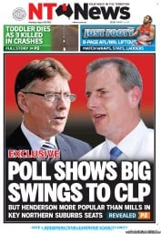 NT News Newspaper Front Page (Australia) for 20 August 2012