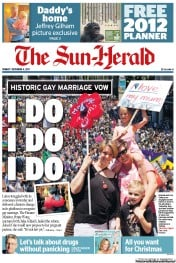 Sun Herald (Australia) Newspaper Front Page for 4 December 2011