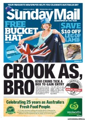 Sunday Mail (Australia) Newspaper Front Page for 22 January 2012