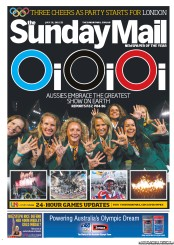 Sunday Mail Newspaper Front Page (Australia) for 29 July 2012