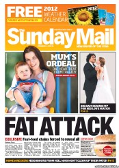 Sunday Mail (Australia) Newspaper Front Page for 4 December 2011