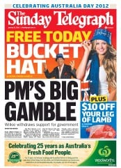 Sunday Telegraph (Australia) Newspaper Front Page for 22 January 2012