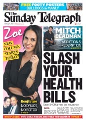 Sunday Telegraph Newspaper Front Page (Australia) for 24 February 2013