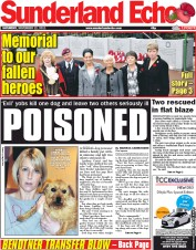 Sunderland Echo Newspaper Front Page (UK) for 12 November 2011