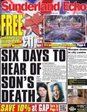 Sunderland Echo Newspaper Front Page (UK) for 13 August 2012