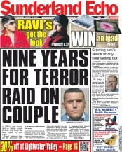 Sunderland Echo Newspaper Front Page (UK) for 15 August 2012