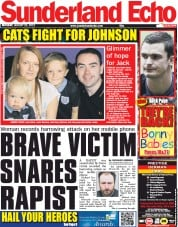 Sunderland Echo Newspaper Front Page (UK) for 20 August 2012
