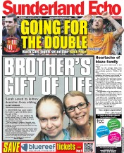 Sunderland Echo () Newspaper Front Page for 21 August 2012