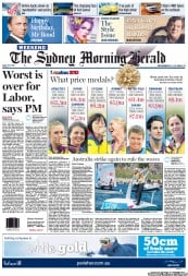Sydney Morning Herald Newspaper Front Page (Australia) for 11 August 2012